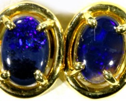 Black Opal set in 18k Gold Earrings SB688