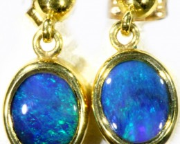 Black Opal set in 18k Gold Earrings SB689