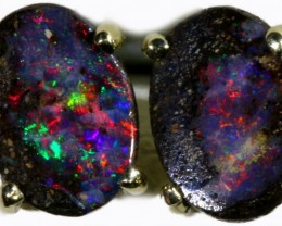 Boulder Opal set in 18k White Gold Earrings SB691