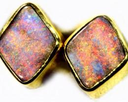 Boulder Opal set in 18k Gold Earrings SB692