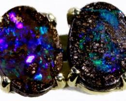 Boulder Opal set in 18k White Gold Earrings SB693