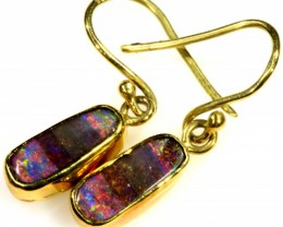 Boulder Opal set in 18k Gold Earrings SB694