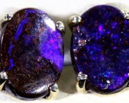 Boulder Opal set in 18k Gold Earrings SB695