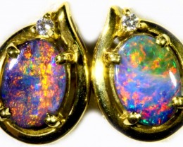 Boulder Opal set in 18k Gold Earrings SB696