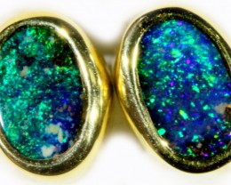 Boulder Opal set in 18k Gold Earrings SB697