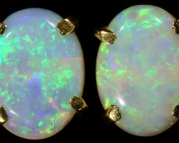 Crystal Opal set in 18k Gold Earrings SB698
