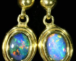 Crystal Opal set in 18k Gold Earrings SB700
