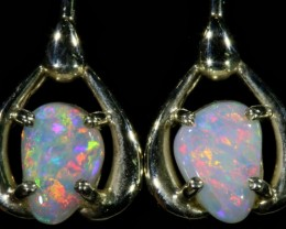 Crystal Opal set in 18k White Gold Earrings SB705