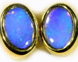 Crystal Opal set in 18k Gold Earrings SB708