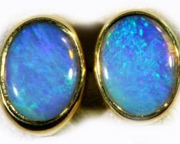 Crystal Opal set in 18k Gold Earrings SB712