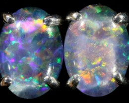 Cute Triplet Opal 18k White Gold Earrings  SB 735