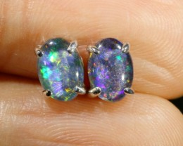 Cute Triplet Opal 18k White Gold Earrings  SB 737