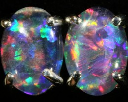 Cute Triplet Opal 18k White Gold Earrings  SB 739
