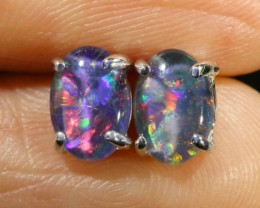 Cute Triplet Opal 18k White Gold Earrings  SB 744