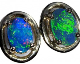 Opal Doublet set in 18k white Gold Earrings SB674