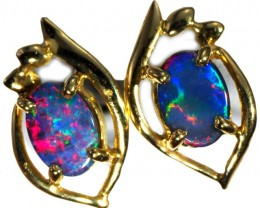 Crystal Opal Doublet set in 18k Gold Earrings SB677