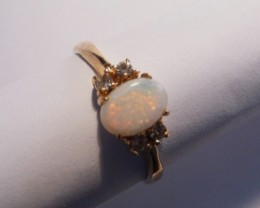 Pretty Australian Coober Pedy Opal and Gold Gilt Ring
