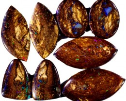 118.90 CTS FOUR PAIRS BOULDER WOOD FOSSIL REPLACEMENT [BMA4435]