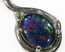 1.6CTS Gem Opal Triplet Set in Silver Pendant  CF 942