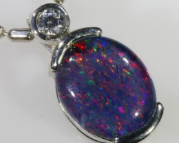 1.2CTS Gem Opal Triplet Set in Silver Pendant  CF 956