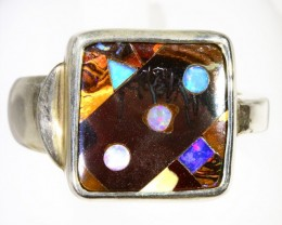 SIZE 10 SOLID BOULDER WITH INLAY OPAL SET IN SILVER RING CF962