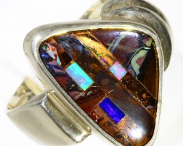 SOLID BOULDER WITH INLAY OPAL SET IN SILVER RING CF965