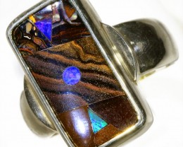 SOLID BOULDER WITH INLAY OPAL SET IN SILVER RING CF966