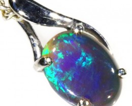 18k White gold with  solid Black opal CF985