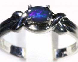 Cute Solid black Opal 18k White Gold  Engagement Ring SB 786