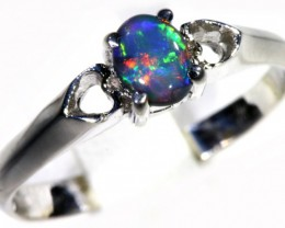 Solid black Opal 18k Love heart White Gold Engagement Ring SB 787