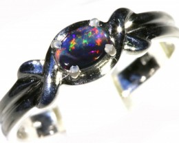 Cute Solid black Opal 18k White Gold  Engagement Ring SB 788