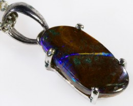 18k White gold with  solid Boulder opal CF991