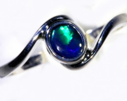 Cute Solid black  Opal 18k White Gold  Engagement Ring SB 792