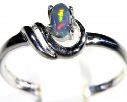 Cute Solid black  Opal 18k White Gold  Engagement Ring SB 801
