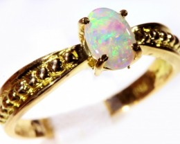 Cute Solid Crystal Opal 18k Yellow Gold Engagement Ring SB 802