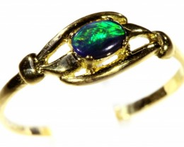 Cute Solid black Opal 18k Yellow Gold Engagement Ring SB 804