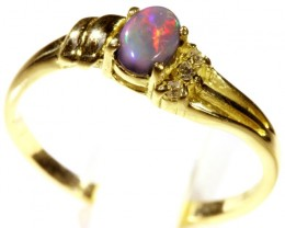 Cute Solid black Opal 18k Yellow Gold Engagement Ring SB 805