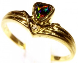 Cute Solid black Opal 18k Yellow Gold Engagement Ring SB 806