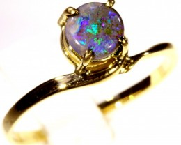 Cute Solid black Opal 18k Yellow Gold Engagement Ring SB 809