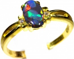Cute Solid black Opal 18k Yellow Gold Ring SB 814