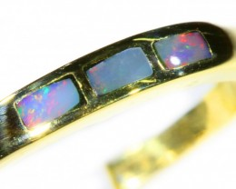 Cute Inlay Opal 18k Yellow Gold Ring SB 819
