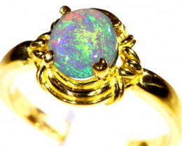 Cute Solid Crystal Opal 18k Yellow Gold Ring SB 820