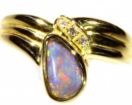 Cute Solid black Opal 18k Yellow Gold Ring SB 821