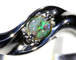 Cute Solid black Opal 18k White Gold Ring SB 828