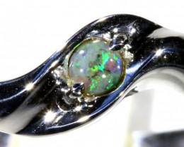 Cute Solid black Opal 18k White Gold Ring SB 828