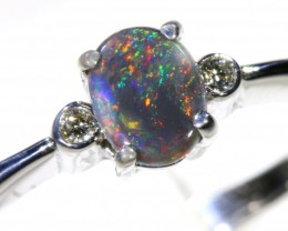 Cute Solid black Opal 18k White Gold Ring SB 829
