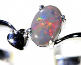Cute Solid black Opal 18k White Gold Ring SB 832