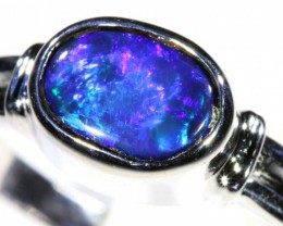 Cute Solid black Opal 18k White Gold Ring SB 836