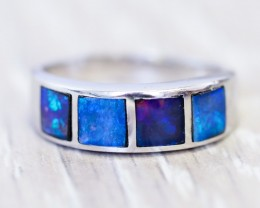 Cute Inlay Opal 18k White Gold Ring SB 837