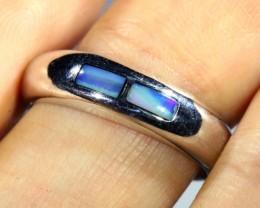 Cute Inlay Opal 18k White Gold Ring SB 838